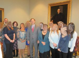 Buzz and I are in the back. Justice Alito doesn't look uncomfortable at all, does he? *coughcough* Don't mind the amateur smudging of faces to protect the innocent.